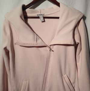 Forever 21 Pink Hoodie M with asymmetrical zipper